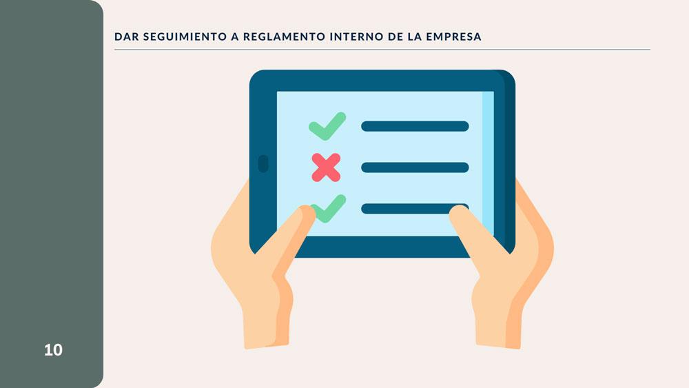 Dar Seguimiento a Reglamento Interno de la Empresa